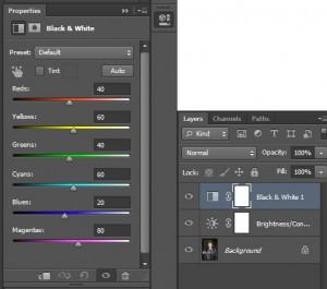foto zwart wit maken in photoshop_aanpassingslaag opties