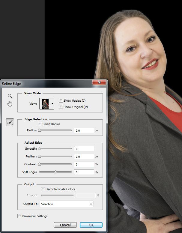 Vrijstaand maken in Photoshop_refine edge